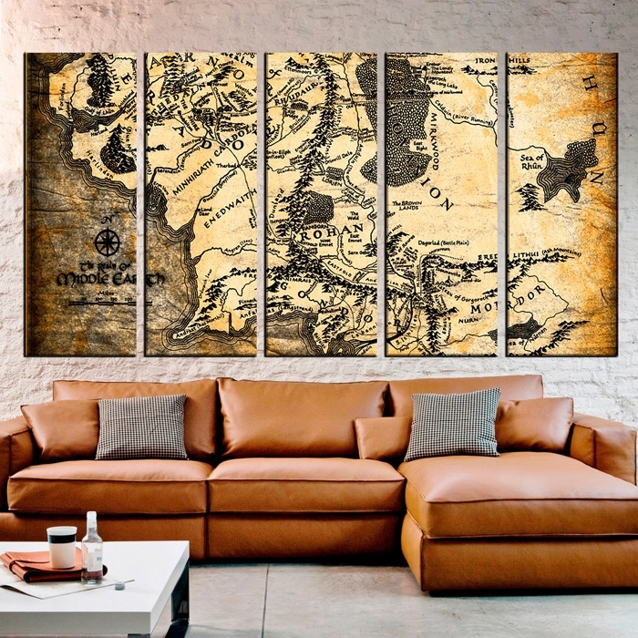 Lord Of The Rings Maps Canvas Wall Art In Lord Of The Rings Wall Art (View 6 of 20)