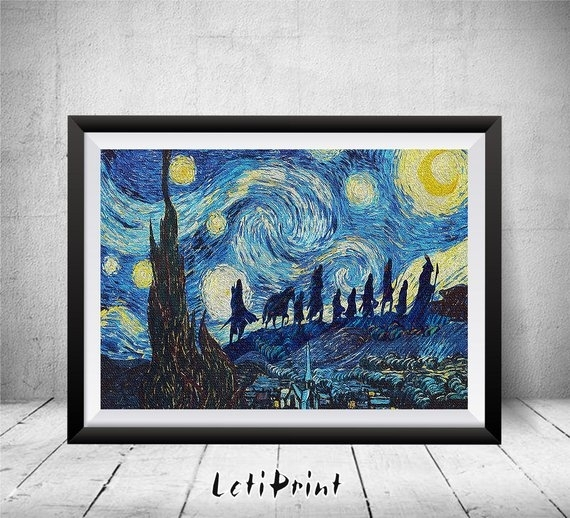 Lord Of The Rings Starry Night Print Wall Art Decor Lord Of | Etsy With Lord Of The Rings Wall Art (View 12 of 20)