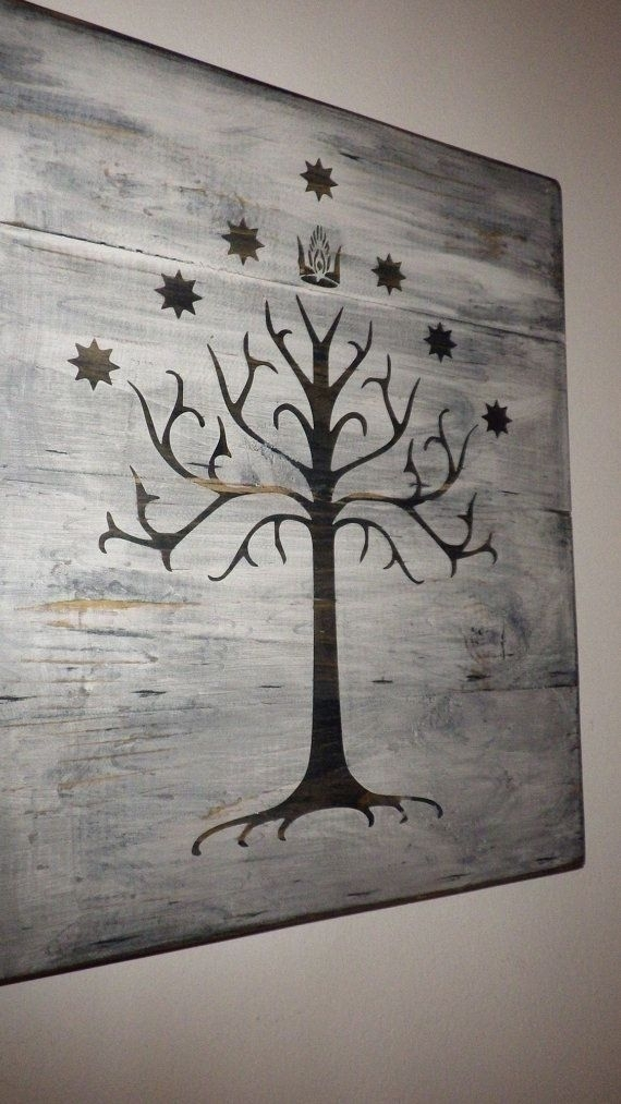 Lord Of The Rings White Tree Of Gondor Wall Hanging / Sign – Lord Of Throughout Lord Of The Rings Wall Art (View 13 of 20)