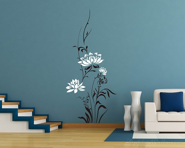 Lotus Flowers Vinyl Wall Art Decal Modern Stickers For Flower Wall Art (View 16 of 20)