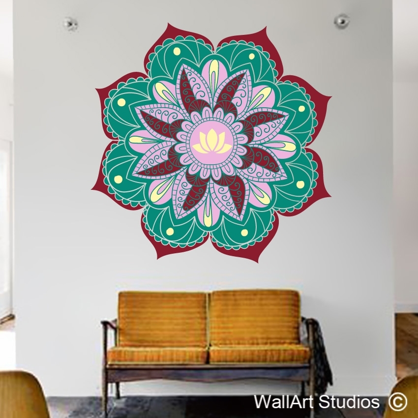 Lotus Mandala Wall Art Sticker | Wall Art Studios Pertaining To Mandala Wall Art (Image 6 of 25)