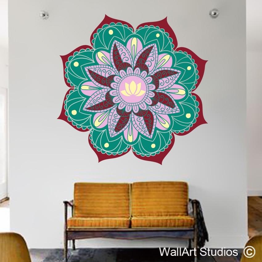Lotus Mandala Wall Art Sticker | Wall Art Studios Pertaining To Mandala Wall Art (Image 6 of 25)