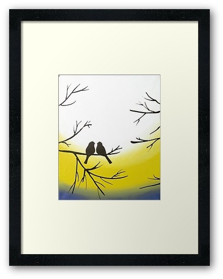 Love Bird Landscape Abstract Bird Painting Triptych Nursery Canvas Throughout Bird Framed Canvas Wall Art (Image 19 of 25)
