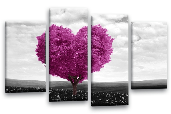Love Heart Tree Canvas Wall Art With Regard To Purple And Grey Wall Art (View 16 of 25)