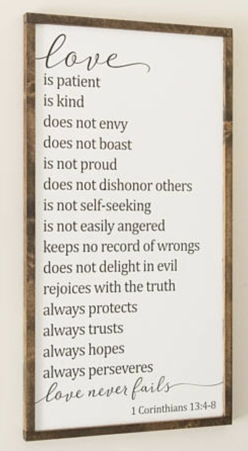 Love Is Patient Love Is Kind Framed Wood Sign | 1 Corinthians 13 Within Love Is Patient Wall Art (Image 7 of 25)