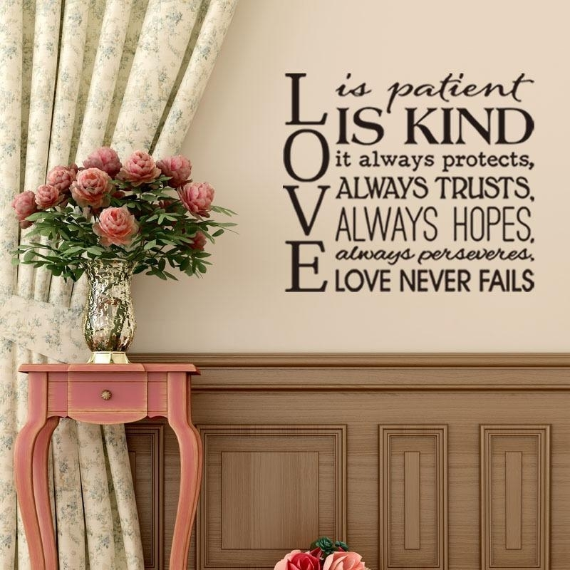 Love Is Patient Quote Wall Sticker Diy Vinyl Self Adhesive Lovetheme Intended For Love Is Patient Wall Art (Image 10 of 25)