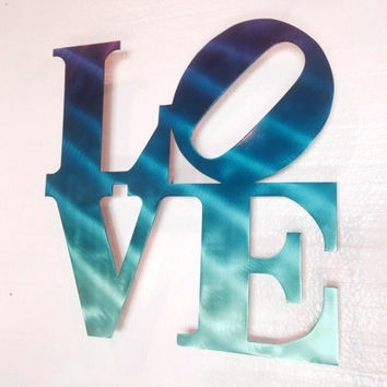 Love Wall Art – Love Metal Sign – Wall From Inspiremetals On Etsy In Turquoise Wall Art (View 19 of 20)