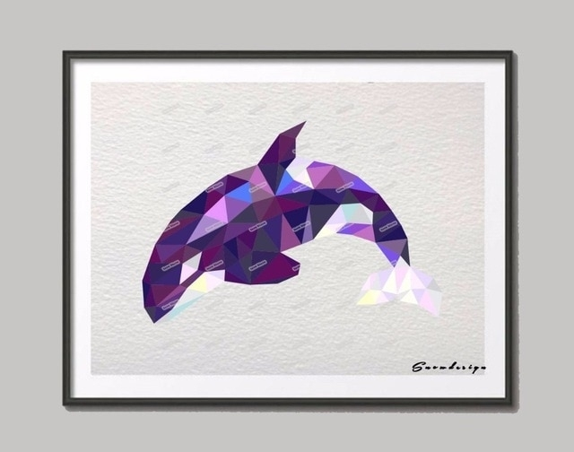 Low Poly Modern Geometric Whale Canvas Painting Wall Art Print Inside Whale Canvas Wall Art (Image 14 of 25)