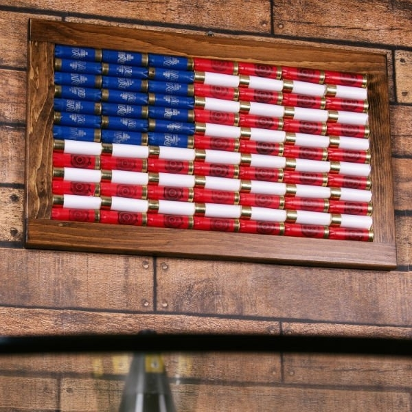 Lucky Shot 12 Gauge American Flag Wall Art | Red Hill Cutlery For American Flag Wall Art (Image 7 of 10)