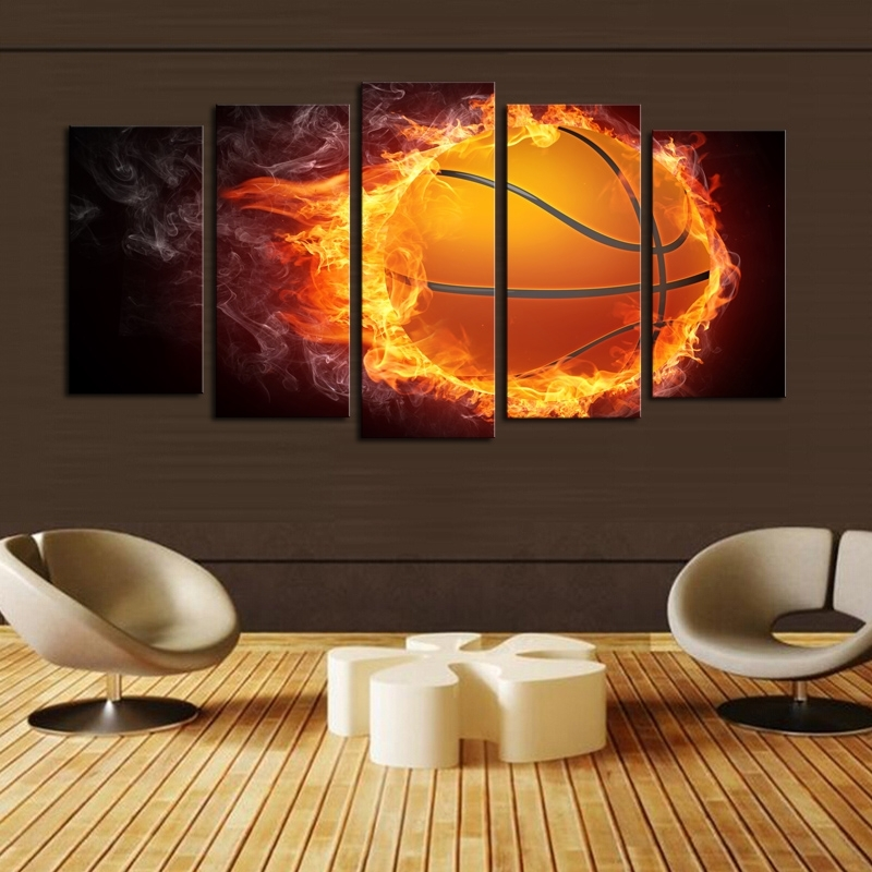 Luxry Unframed 5 Pcs Basketball Picture Print Painting Modern Canvas Pertaining To Basketball Wall Art (Image 7 of 10)