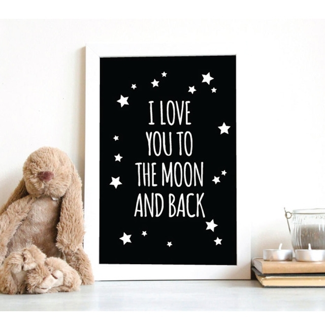 Lzn I Love You To The Moon And Back Classic Quotes Canvas Painting Inside I Love You To The Moon And Back Wall Art (View 4 of 20)