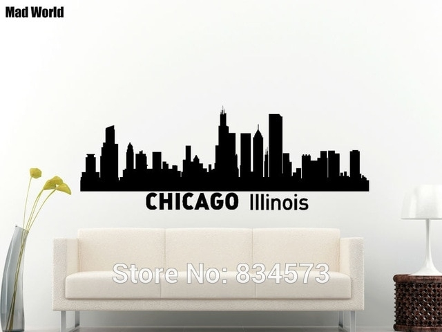 Mad World Chicago Skyline City Silhouette Chicago Wall Art Stickers Throughout Chicago Wall Art (Image 7 of 10)