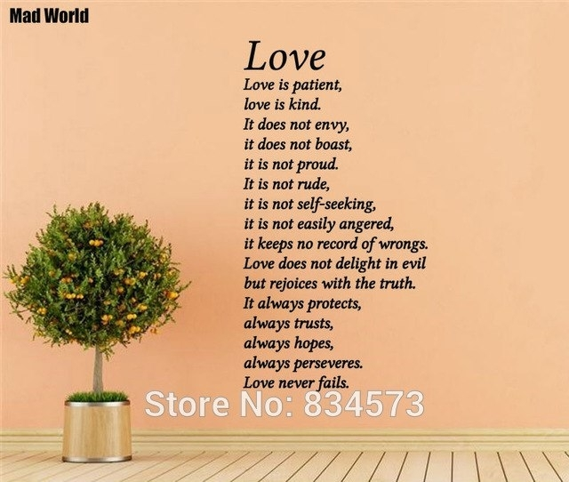 Mad World Love Is Patient Kind Love Never Fails Wall Art Stickers Pertaining To Love Is Patient Wall Art (View 9 of 25)