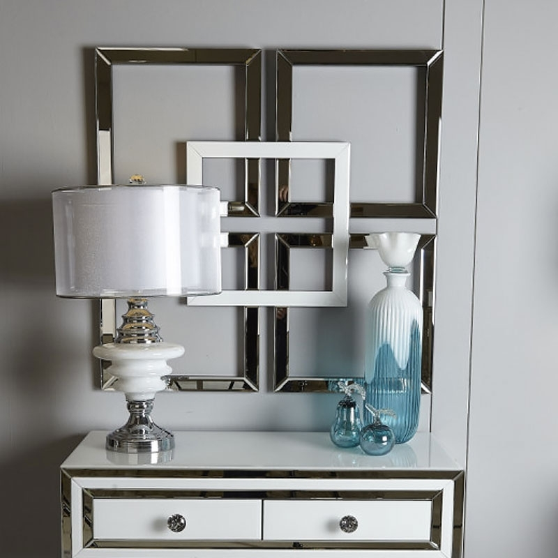 Madison White Geo Mirror Wall Art   Picture Perfect Home Within Mirrored Wall Art (View 9 of 20)