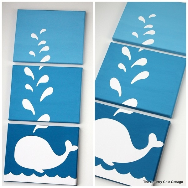 Make This: Whale Canvas Art – The Country Chic Cottage Intended For Whale Canvas Wall Art (Image 15 of 25)