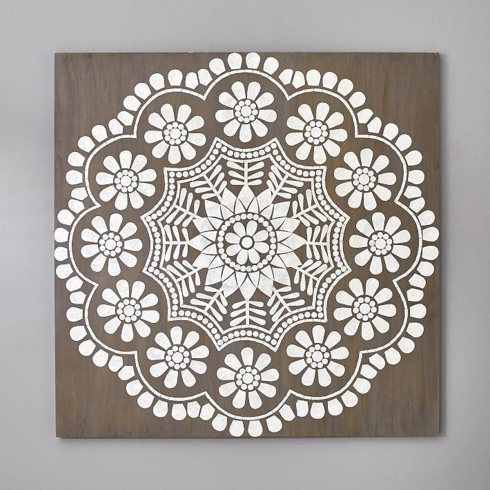 Mandala Oversize White Capiz Medallion Wall Art With Regard To Medallion Wall Art (Image 7 of 25)
