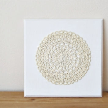 Mandala Wall Art, Crochet Doily Wall From Diacrochets On Etsy Within Crochet Wall Art (Image 19 of 20)