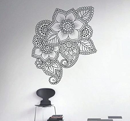 Mandala Wall Art Henna Wall Decal Abstract Flowers Vinyl Sticker Intended For Mandala Wall Art (Image 10 of 25)