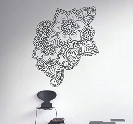 Mandala Wall Art Henna Wall Decal Abstract Flowers Vinyl Sticker Intended For Mandala Wall Art (Image 10 of 25)