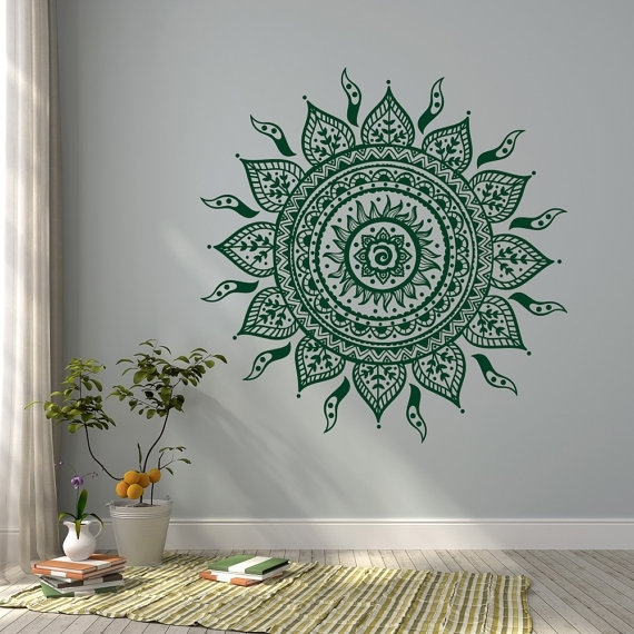 Mandala Wall Decal Sticker  Mandala Vinyl Wall Decals  Yoga Studio Throughout Mandala Wall Art (Image 13 of 25)