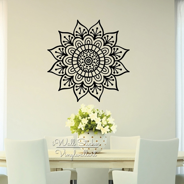 Mandala Wall Sticker Modern Flower Wall Decal Diy Indian Wall Decors Regarding Mandala Wall Art (Image 15 of 25)
