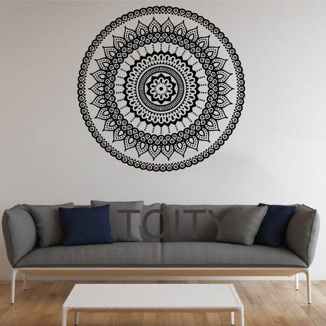 Mandala Wall Stickers Indian Round Pattern Symbol Vinyl Decal Throughout Mandala Wall Art (Image 18 of 25)