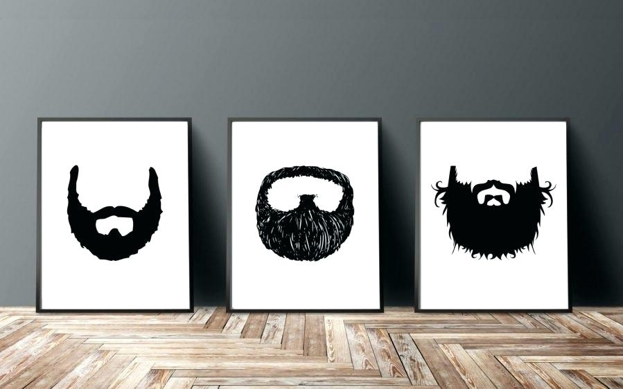 Manly Wall Art Beard Print Set Beard Painting Beard Art Print Beard With Manly Wall Art (Image 7 of 25)