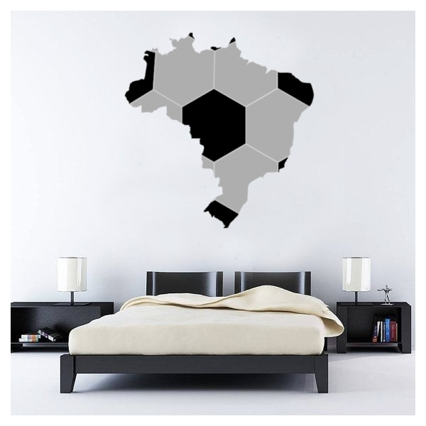 Map Of Brazil Brasil Soccer Wall Sticker Fantastic Wall Art Decal In Soccer Wall Art (View 5 of 25)
