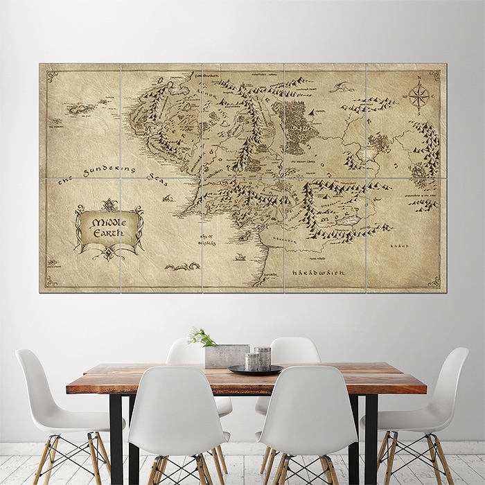 Map Of Middle Earth – Lord Of The Rings Giant Wall Art Poster Inside Lord Of The Rings Wall Art (View 15 of 20)