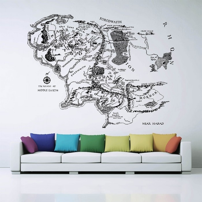 Map Of Middle Earth Lord Of The Rings Vinyl Wall Art Decal With Lord Of The Rings Wall Art (View 4 of 20)