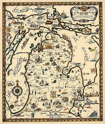 Map Of The Commonwealth Of Michigan Wall Art Poster Print Decor Within Michigan Wall Art (Image 6 of 25)