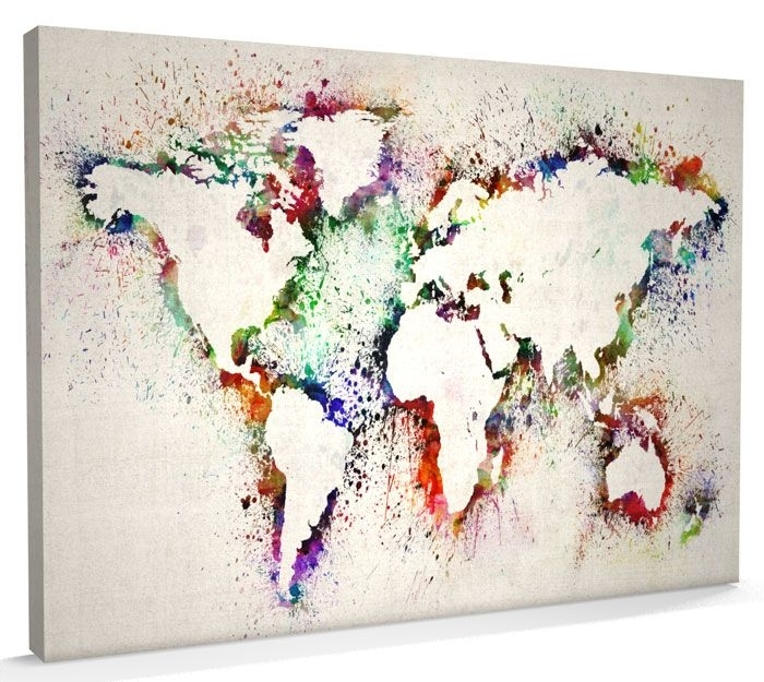 Map Of The World Map Abstract Painting, Canvas Art A3 To A1 – V778 In Diy World Map Wall Art (Image 19 of 25)