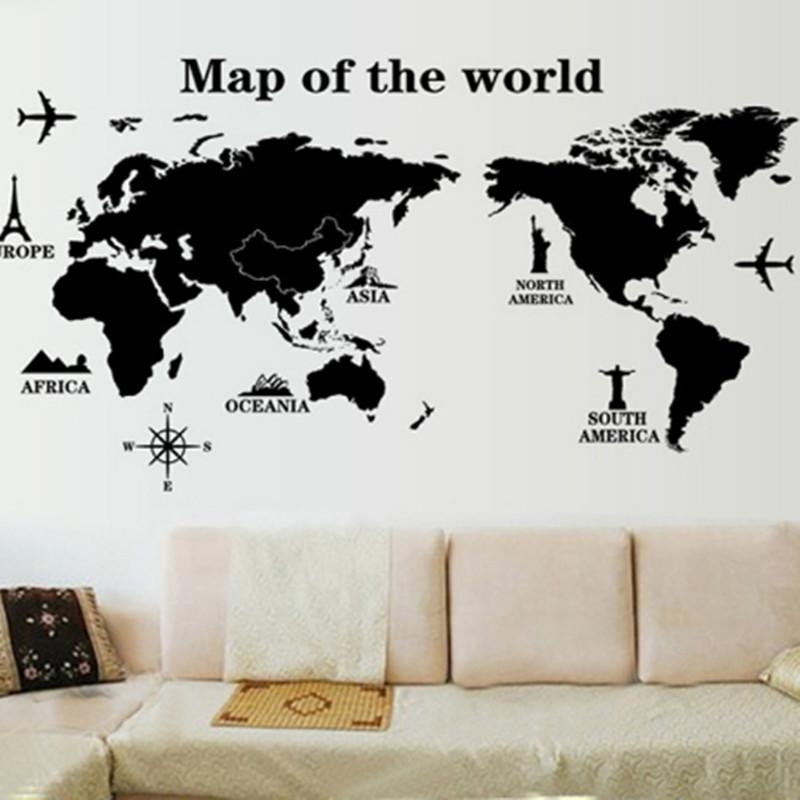 Map World Wall Stickers Living Room Art Decal Removeable Wallpaper With Regard To Map Of The World Wall Art (View 9 of 25)