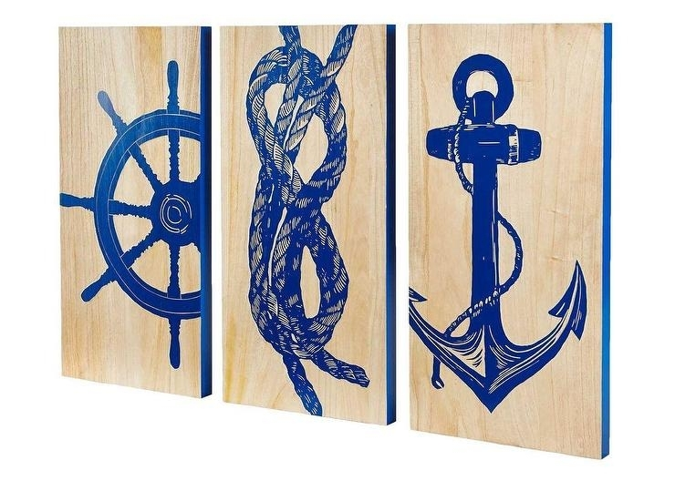 Marine Blue Printed Wall Art For Nautical Wall Art (Image 4 of 10)