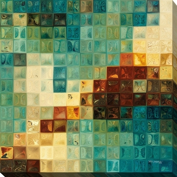 "Mark Lawrence ""aqua Tiles"" Giclee Stretched Canvas Wall Art – Ships Throughout Tile Canvas Wall Art (View 6 of 25)"