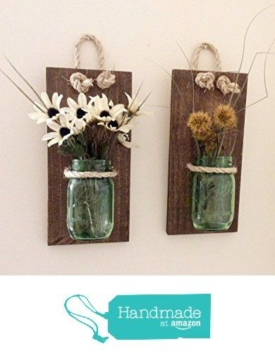 Mason Jar Wall Sconce (Set Of Two) Hand Crafted Rustic Wall Decor With Regard To Mason Jar Wall Art (View 5 of 20)