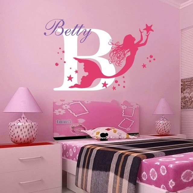Mermaid Custom Personalised Name Wall Stickers Nursery Decor Girls With Regard To Name Wall Art (View 16 of 25)