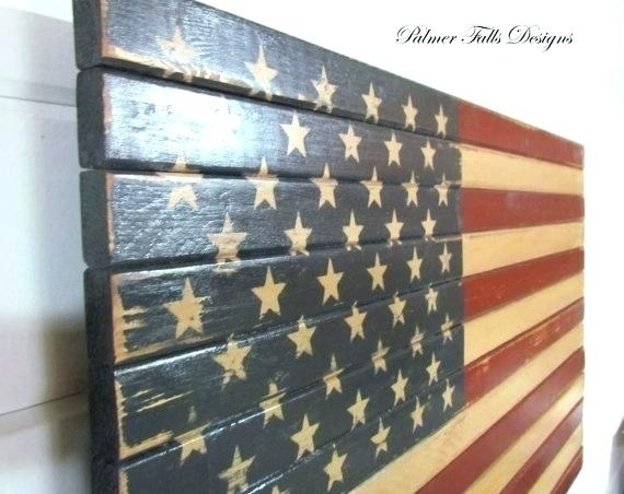 Metal And Wood American Flag Metal Flag Wall Art Hidden Gun Storage Intended For American Flag Wall Art (Image 8 of 10)