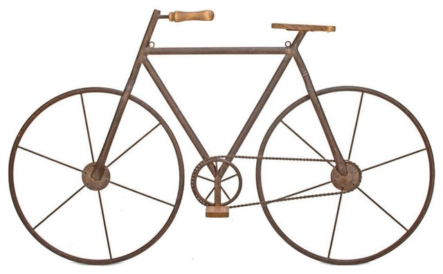 Metal And Wood Bicycle Wall Art – Rustic – Wall Accents  Tripar Intended For Bicycle Wall Art (Image 16 of 20)