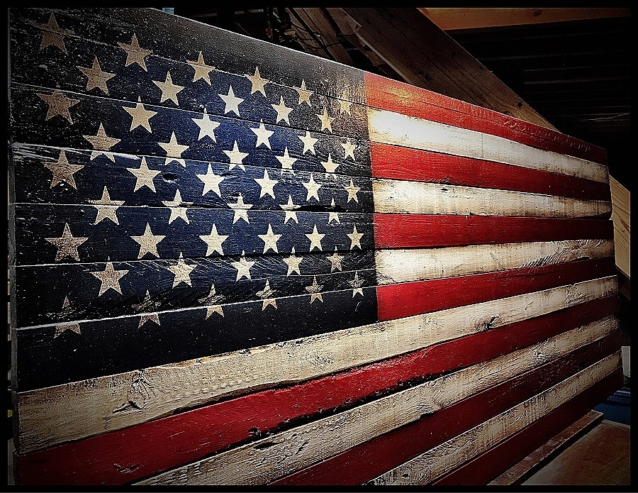 Metal And Wood Flag Rustic Wall Art Handmade In Vintage Distressed Within Rustic American Flag Wall Art (View 17 of 25)
