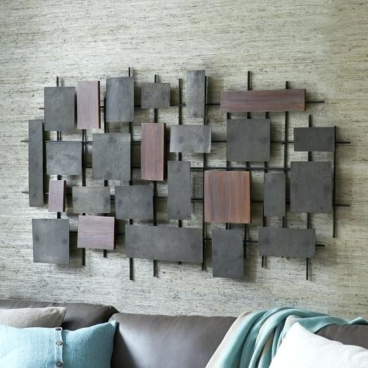 Metal And Wood Wall Decor Hammered Metal Wood Wall Art West Elm Wood Intended For West Elm Wall Art (View 16 of 25)