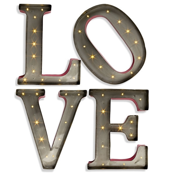 Metal Letter Wall Art Glamorous Large Led Wall Art 15 Inch Lighted Pertaining To Metal Letter Wall Art (Image 18 of 25)