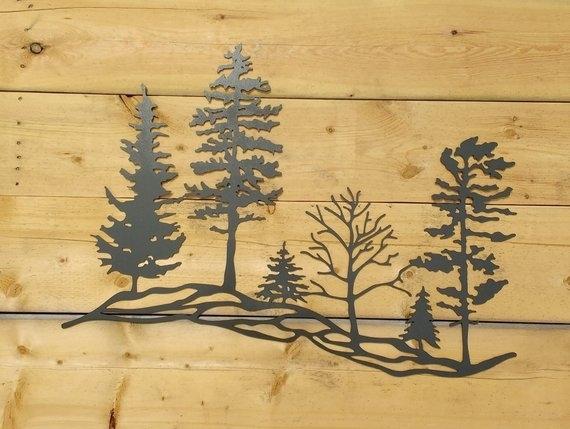 Metal Tree Hillside Metal Wall Art Trees Metal Trees Metal | Etsy Within Metal Wall Art Trees (View 24 of 25)