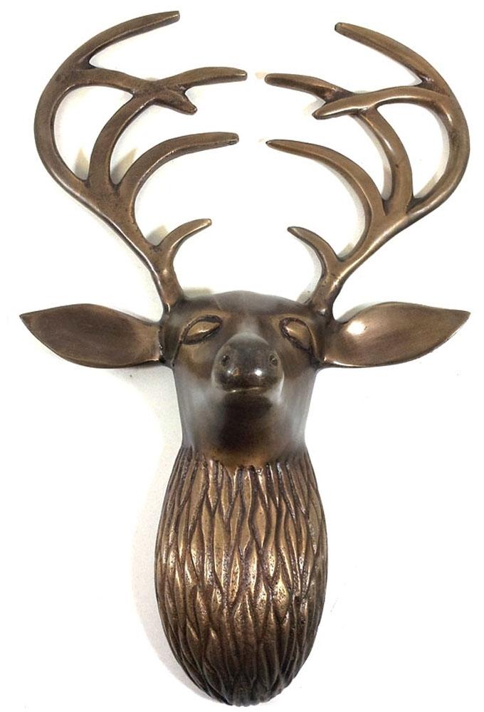 Metal Wall Art – Bronze Flat Antler Deer Stag Head With Bronze Wall Art (Image 17 of 25)