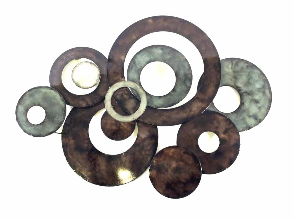 Metal Wall Art – Bronze Linked Circle Disc Abstract Within Bronze Wall Art (Image 18 of 25)