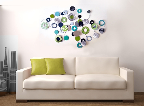 Metal Wall Art Eclipse Lime And Blue – The Sculpture Room With Regard To Wall Art (View 10 of 10)