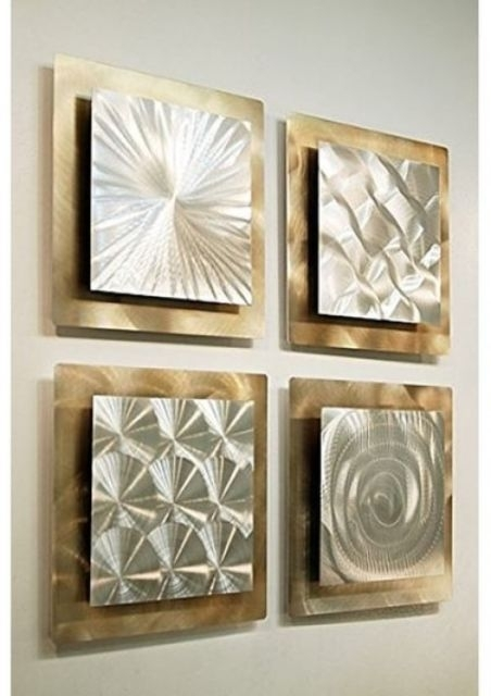 Metal Wall Art Panels Set Of 4 Gold Silver Modern Abstract Square Within Metal Wall Art Panels (View 7 of 20)