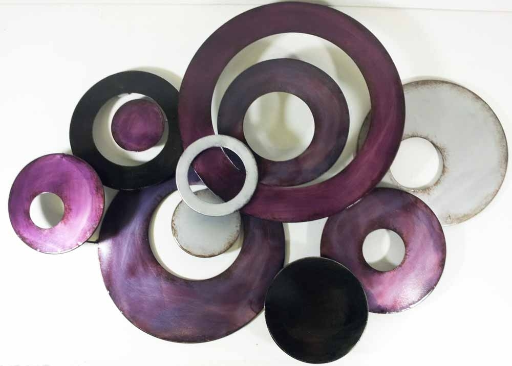 Metal Wall Art – Purple Linked Circle Disc Abstract With Regard To Circle Wall Art (View 8 of 25)