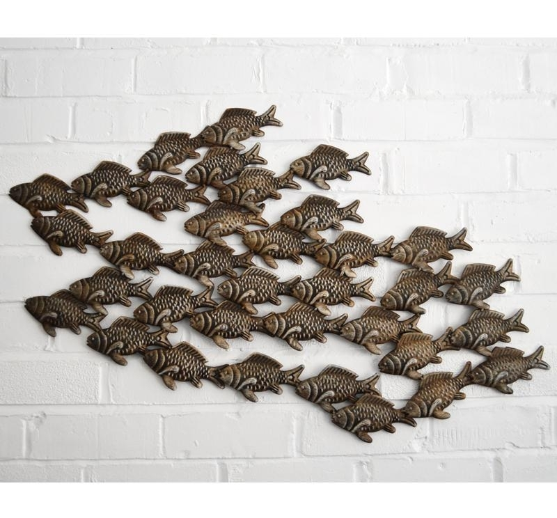 Metal Wall Art – Shoal Of Fish – Coastalhome.co (Image 9 of 25)