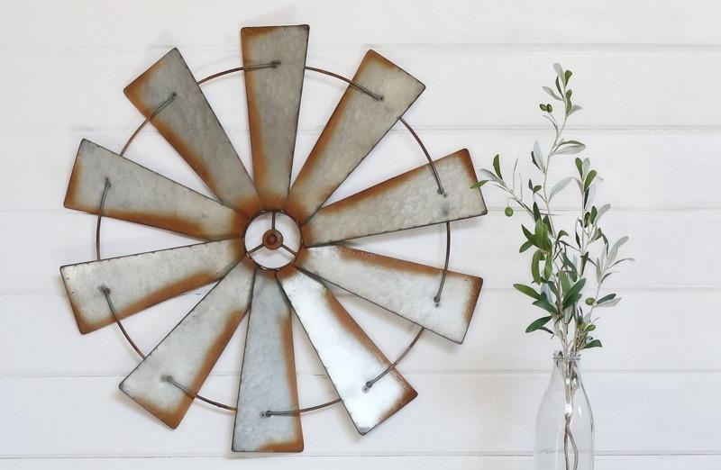 Metal Wall Windmill, Galvanized Metal Wall Windmill, Wall Decor Pertaining To Windmill Wall Art (Image 8 of 20)